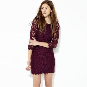 DVF Zarita Lace 3/4 Sleeve Scoop Dress Plum 6